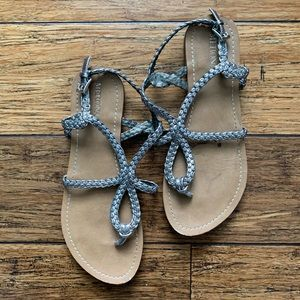 Silver Braided Leather Like Material Flat Sandals